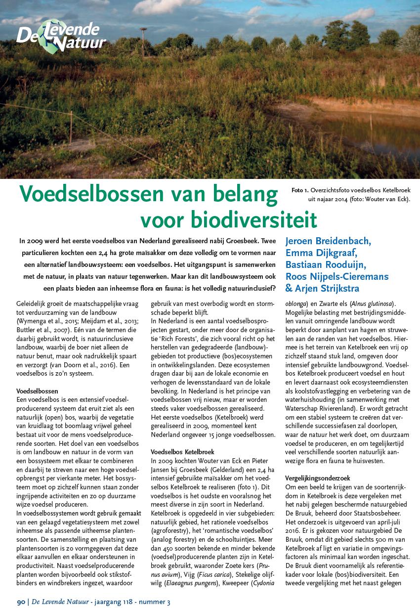 Voedselbossen van belang voor biodiversiteit